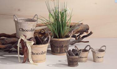 "Immagine di Box 3 Portavasi ""Chocolate"" tondi in legno, diam.cm7xh.6"