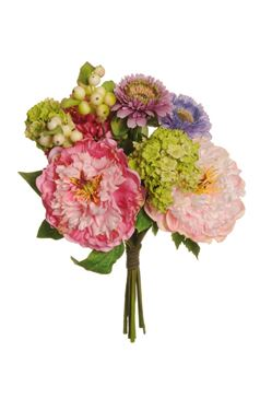 Immagine di Bush fiori assortiti (peonia, aster,  viburnum e bacche), colori vari