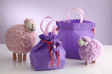 Immagine di Borsa,viola con manici rosa, tessuto/non tessuto, 45X16xH36cm