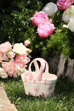 Immagine di Cestino in ceram.farfalle rosa 20x11xH21cm.