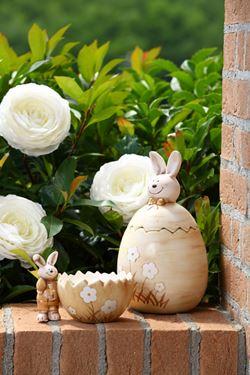 Immagine di Contenitore HAPPY RABBIT,crema opaco, ceramica,mis.10x10xH10cm