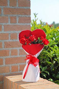 Picture of Busta CUORE steso,bianco/rosso, tessuto,int.plast,23x43cm