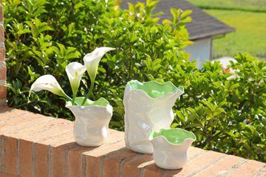 Immagine di Vaso ONDE medio,bianco/verde,  porcellana,14x14xH13cm