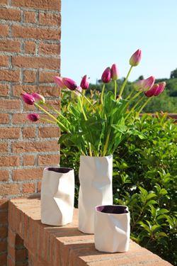 Immagine di Vaso PACK medio bianco/viola,  ceramica,13x13xH22cm