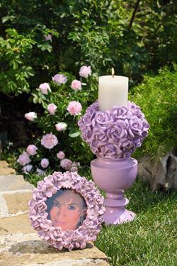 Picture of Portacandela rosa,  diam.cm8 x h.cm36