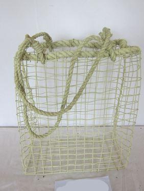 Immagine di Cesto rett. c.m.,  metallo/corda,  verde, 41x22xH50-94cm
