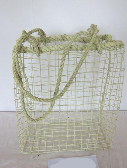 Picture of Cesto rett. c.m.,  metallo/corda,  verde, 41x22xH50-94cm