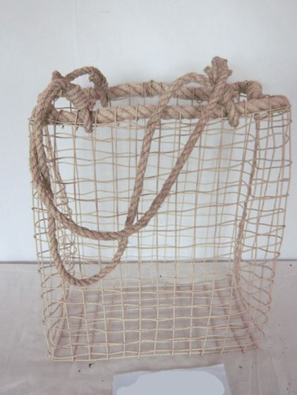 Immagine di Cesto rett. c.m.,  metallo/corda,  tortora, 41x22xH50-94cm