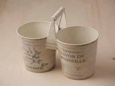 Immagine di Portavaso x2 latta panna h.vaso 14 x diam. alto 13.5 cm