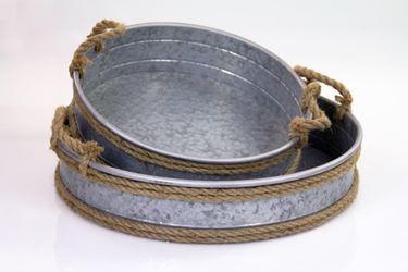 Immagine di S/2 contenitori, metal, deco corda d.38xh.10+d.48xh.10cm