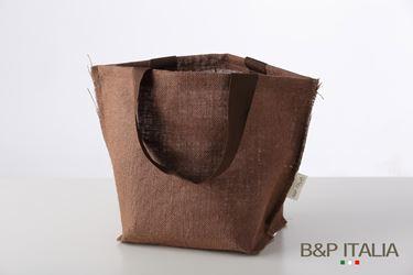 Immagine di Borsa juta marrone scuro h.23x19x14,5, PPL interno, manico vintage