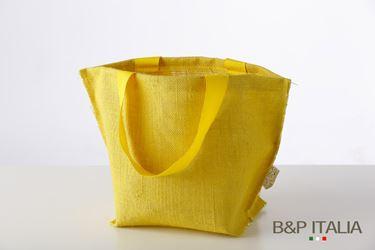 Immagine di Borsa juta gialla h.23x19x14,5,PPL interno, manico vintage