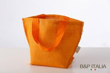 Immagine di Borsa juta  arancio h.28,5x27x22, PPL interno, manico vintage