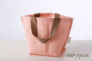 Immagine di Borsa juta rosa h.16,5x11,5x10, PPL interno, manico vintage