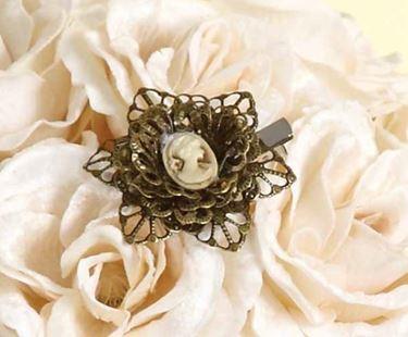 Picture of Box 4 fiori cammeo con clip metallo  bronzo diam.cm6