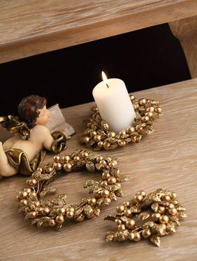Picture of Ghirlanda portacandela con foglie e bacche col oro,  diam.4cm