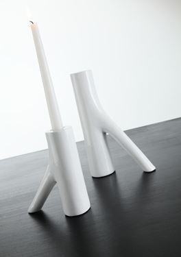 Immagine di Portacandela grande  in poliresina bianca con appoggio 10x10x12