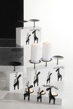 Immagine di Portacandela bianco a sede rialzata con renna nero/argento 9x7x12