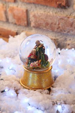 Immagine di Carillon waterball sacra famiglia,oro, poliresina/vetro, D xH.15cm