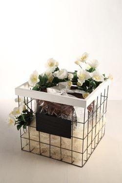Immagine di S/2 cesti, metallo, bianco, 32x32xh.34; 26x26xh.31
