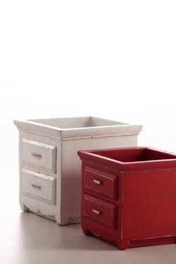 Picture of COMODINO grande, cemento, rosso, 15x15xh.18cm