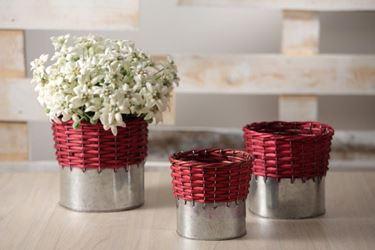 Immagine di S/3 cesti,metallo/vimini, rosso cm.d.17xh.18/d.15xh.16,5/d.13xh.14,5