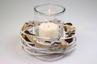 Immagine di Portacandele legno bianco, pigne/stelle, sede vetro, d.30xh.21cm