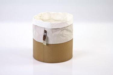 Immagine di Contenitore ecosostenibile, waterproof, bianco/avana,diam.15xh.15cm