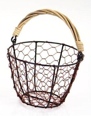 Immagine di Contenitore tondo rete metallo color rame,  c/m bamboo, d.int.19xh.13