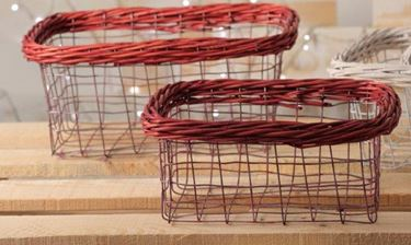 Immagine di S/2 cesti,metallo/vimini, rosso cm.22,5x32,5xh.15,5/26x15xh.12