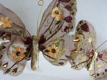 Immagine di Clip farfalla marrone/oro,  h.cm17