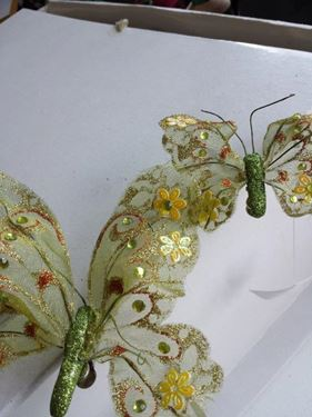 Immagine di Clip farfalla verde,  h.cm17
