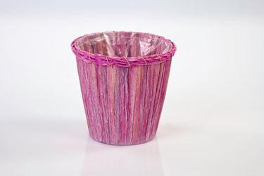 Immagine di S/2 coprivasi, vimini, rosa, d.15xh.15cm+ d13xh.13cm
