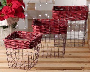 Immagine di S/3 cesti,metallo/vimini, rosso cm.33x33xh.35/27,5x27,5h.29/23x23xh.24
