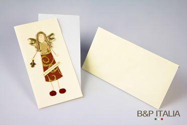 Immagine di Biglietto angelo rosso/oro, cm10x20