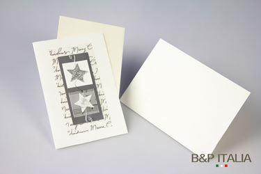 Immagine di Biglietto Stelle Bianco/Argento cm 10x15