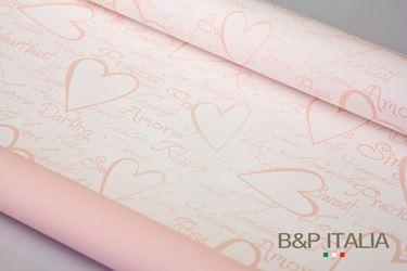 Immagine di Bobina PLB h.80cm , 30m PAROLE D'AMORE bianco/rosa