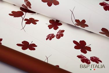 Immagine di Bobina PLB h.cm 100x125m GELSOMIN bianco +FIORI E RETRO bordeaux PROF.