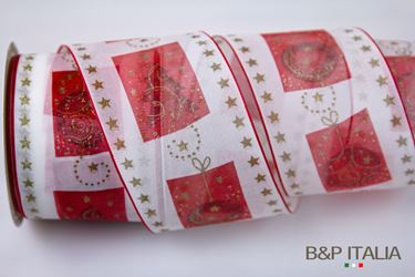 Picture of Nastro h.70mm 15m CHRISTMAS EFFECT bianco/rosso