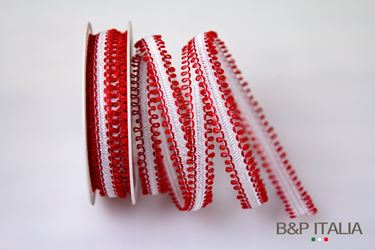 Picture of Nastro Leopold h.16mm, 25mt bianco/rosso