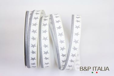 Picture of Nastro h.15mm 20m LITTLE STAR bianco/argento