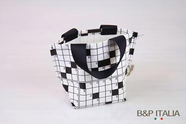 Immagine di Borsa, Khartex+PPV,h23x19x14,5 CRUCIVERBA, bianco/nero, c/m