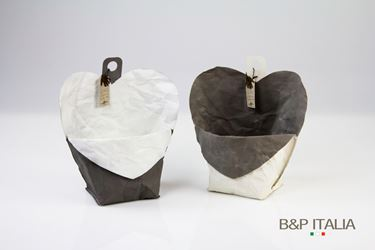 Immagine di contenitore cuore ecosost, waterproof, bianco/tortora, d.11cm