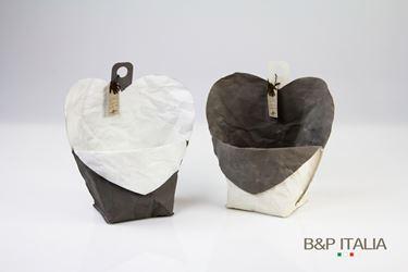 Immagine di contenitore cuore ecosost, waterproof, bianco/tortora, d.15 cm
