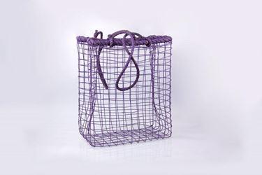 Immagine di Cesto rett. c.m.,  metallo/corda,  lilla, 41x22xH50-94cm