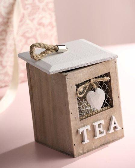 Immagine di Scatola TEA, legno, naturale, 12x12xH16cm