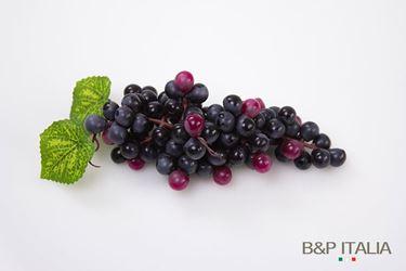 Immagine di Mini grappolo d'uva nera h.15 cm,foglie verdi,diam.chicco 1cm
