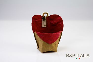 Picture of contenitore cuore ecosost, waterproof, avana/rosso, d.11cm