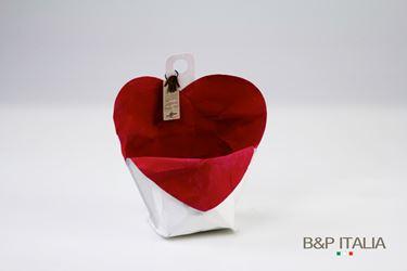 Picture of contenitore cuore ecosost, waterproof, bianco/rosso, d.11cm