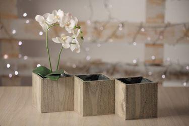 Picture of Vaso triplo naturale, legno, con ppl cm.10x10xh.12